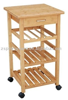 Rubber Wood Kitchen Serving Trolley Cart With 4 Tier 1 Drawer 4 Caster For  Kitchen Cooking Table Dining In Home Hotel Restaurant - Buy Kitchen ...