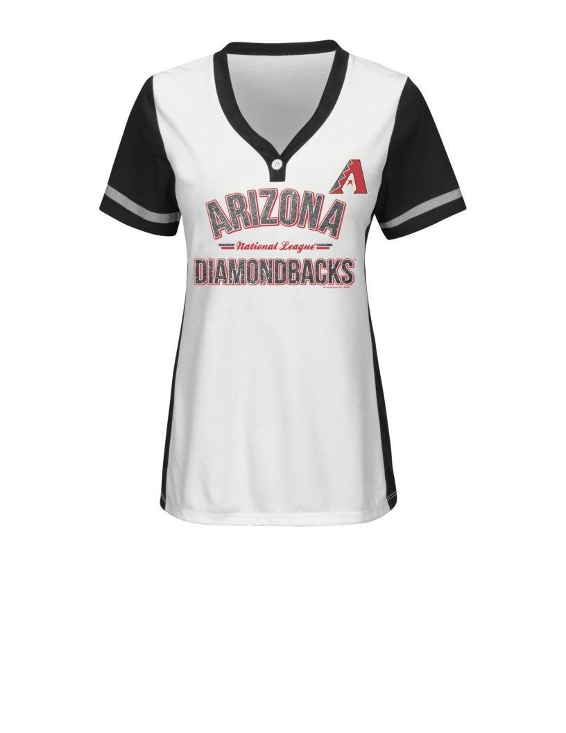 MLB Arizona Diamondbacks Women's Team Name Rugged Competitor Pull Over Color Block Jersey, Large, White/Black
