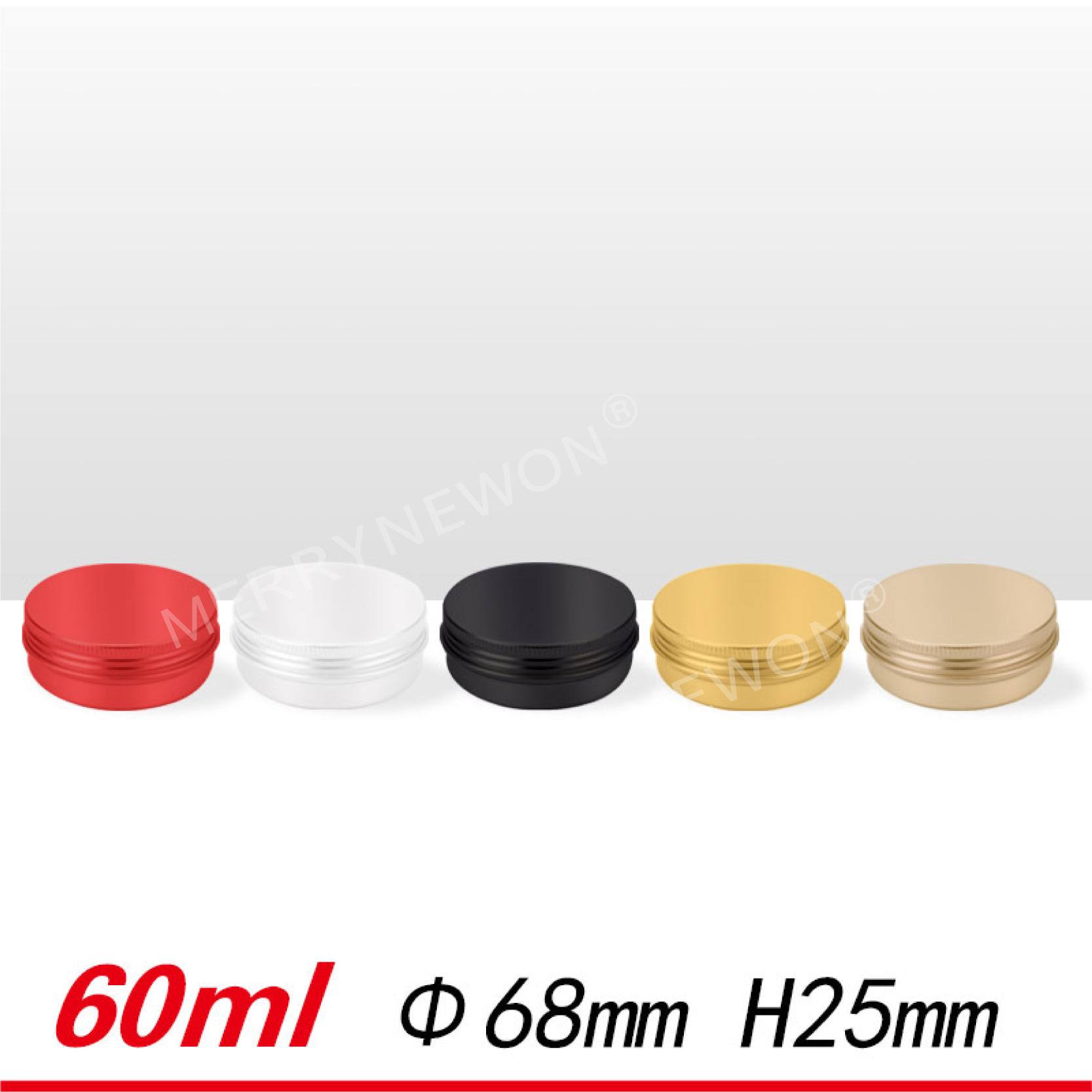 60 ml/2 oz aluminium tin met deksel voor cosmetische container met zilver/zwart/wit/gloden /rood/kleur aluminium kan-60 ml 6825mm