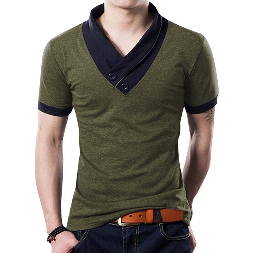 5c7045ea062 Get Quotations · YTD 100% Cotton Mens Casual V-Neck Button Slim Muscle Tops  Tee Short Sleeve