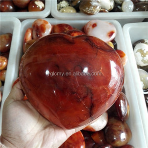 red color polished agate stone hearts for sale