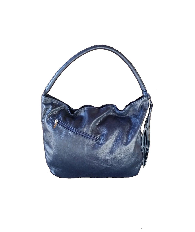 8cd5c0f42d Get Quotations · Fgalaze Blue Leather Hobo Bag w Tassel
