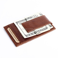Magnet genuine leather Men's Leather Money Clip Slim Pocket Wallet ID Credit Card Holder