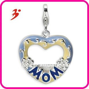 for boutique fashion cheap silver blue MOM photo necklace charms jewelry factory in china