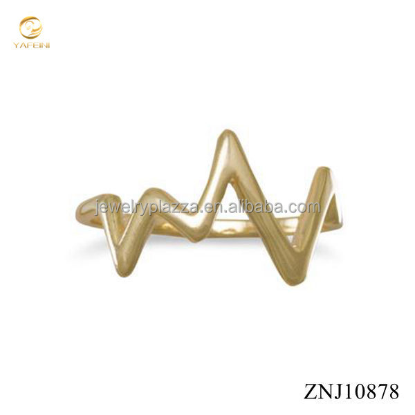 Factory Direct Sale Jewelry 14 Karat Gold Plated Heartbeat Design Silver Ring for Men and Women
