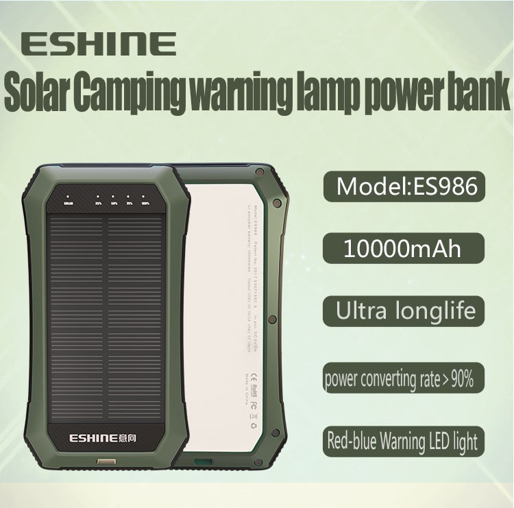 New patented solar power bank with 10000mAh and 3w LED light