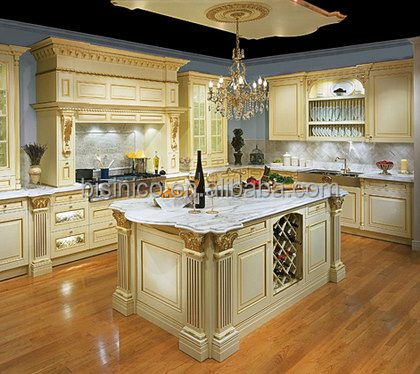 Bisini luxe bois massif sculpt la main birch armoires for Cuisines americaines de luxe