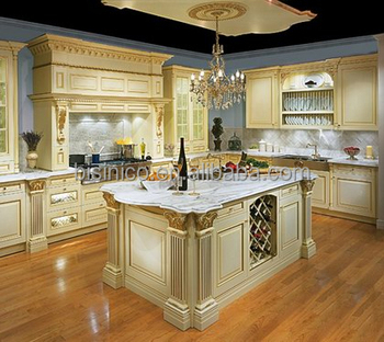 Bisini Luxury Solid Wood Hand Carved Birch Kitchen Cabinet American Furniture