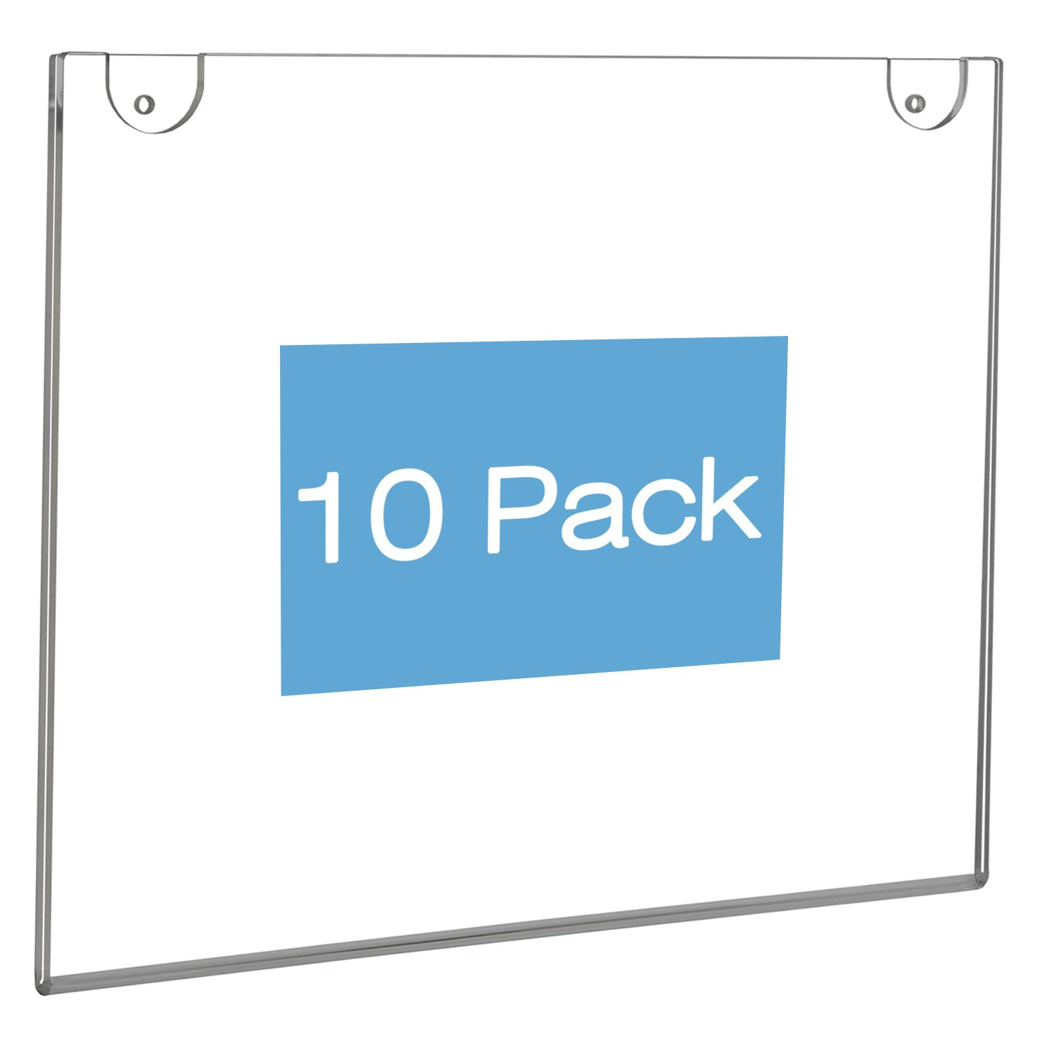 NIUBEE Wall Mount Sign Holder 11 x 8.5 Inch- Clear Acrylic Picture Frame for Paper- Horizontal(10 Pack)