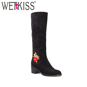 Latest model elegant embroider lady shoes boots fashion black and army green faux suede women boot