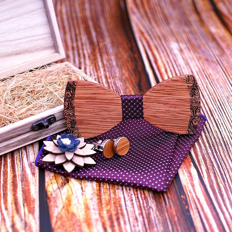 2019 New arrival Wood Bowtie+Handkerchief+Cufflinks Sets Marriage Groom Wooden Bow Tie Bowknots Wedding Christmas