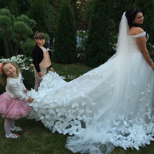 Mzy Tulle Ball Gown Erfly Ivory White Wedding Dress Long Train With Veilin Dresses