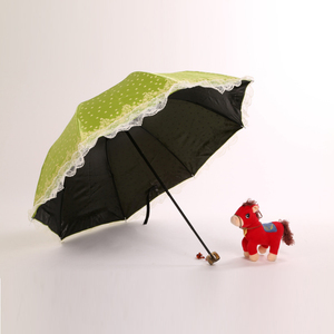 Promotion Cheap Green Lady Lace 3 Foldable Small Parasol Sun Umbrella for Sale