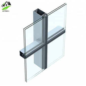 engineering exterior commercial building materials aluminum Profiles Invisible Frame Curtain Glass Wall