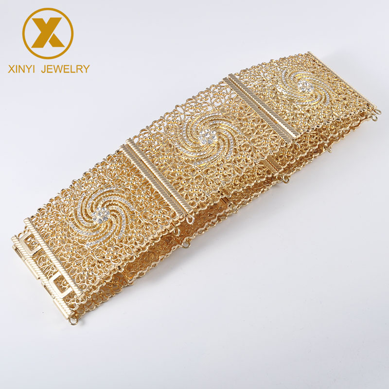 Exquisite expandable crystal belt girdle woman waist chain metal belt wedding & Albania outer spiral flower jewelry