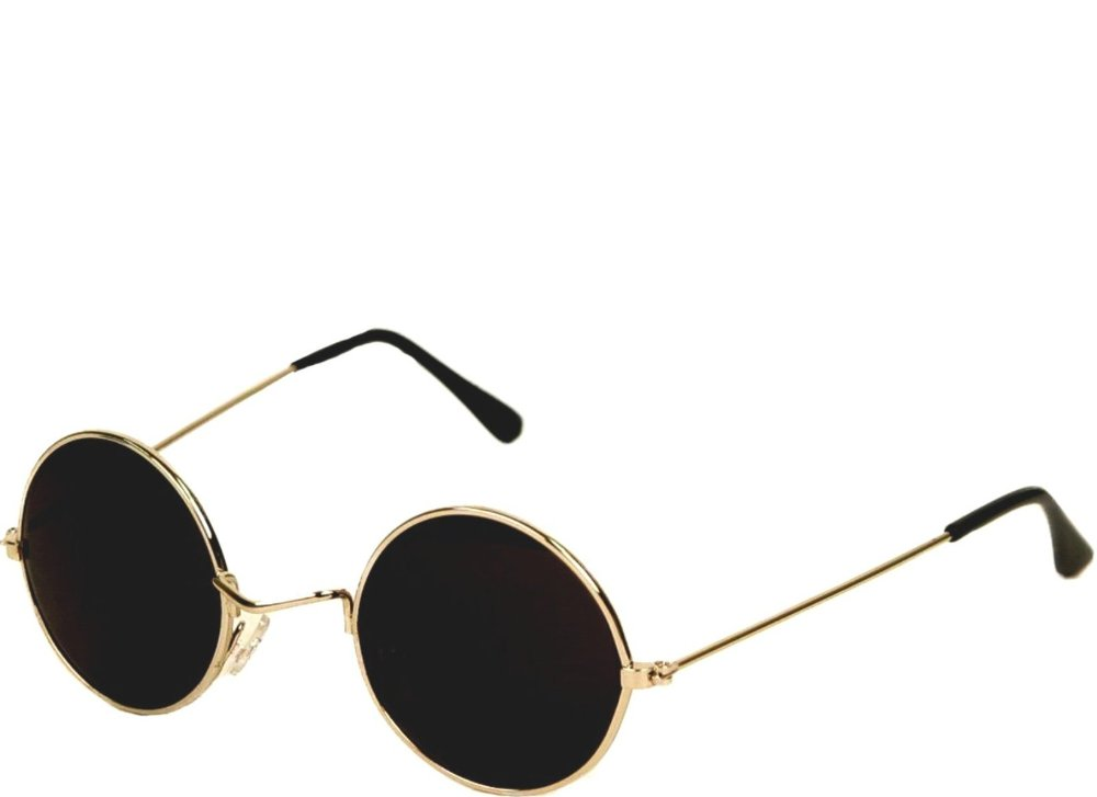 Retro Gold Metal Frame Round John Lennon Hippy Hippie Sunglasses Brown Lens 60/'s