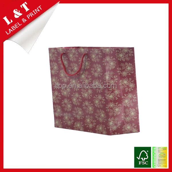 Eco-friendly matte paper foldable shopping package bag