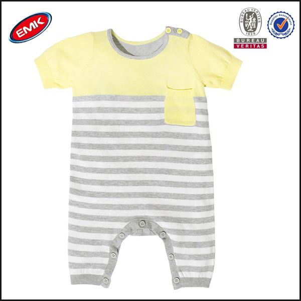 Bebé mameluco manga corta los patrones de tejido de punto, bebé raya ...