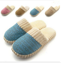 2015 New Promotion Spring & Autumn And Winter Warm Men&Women Cotton-padded Lovers At Home Slippers Indoor Shoes