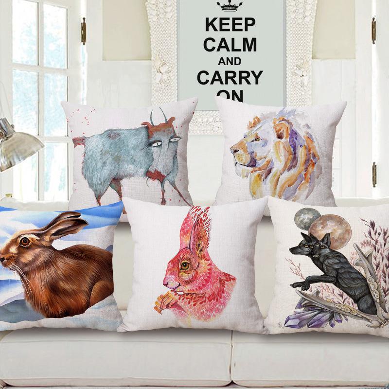 45cm 200g Ink and Wash Rabbit Pop Thick Fashion Cotton Linen Throw Pillow Hot Sale 18 Inch New Home Decor Sofa Back Cushion MQQ