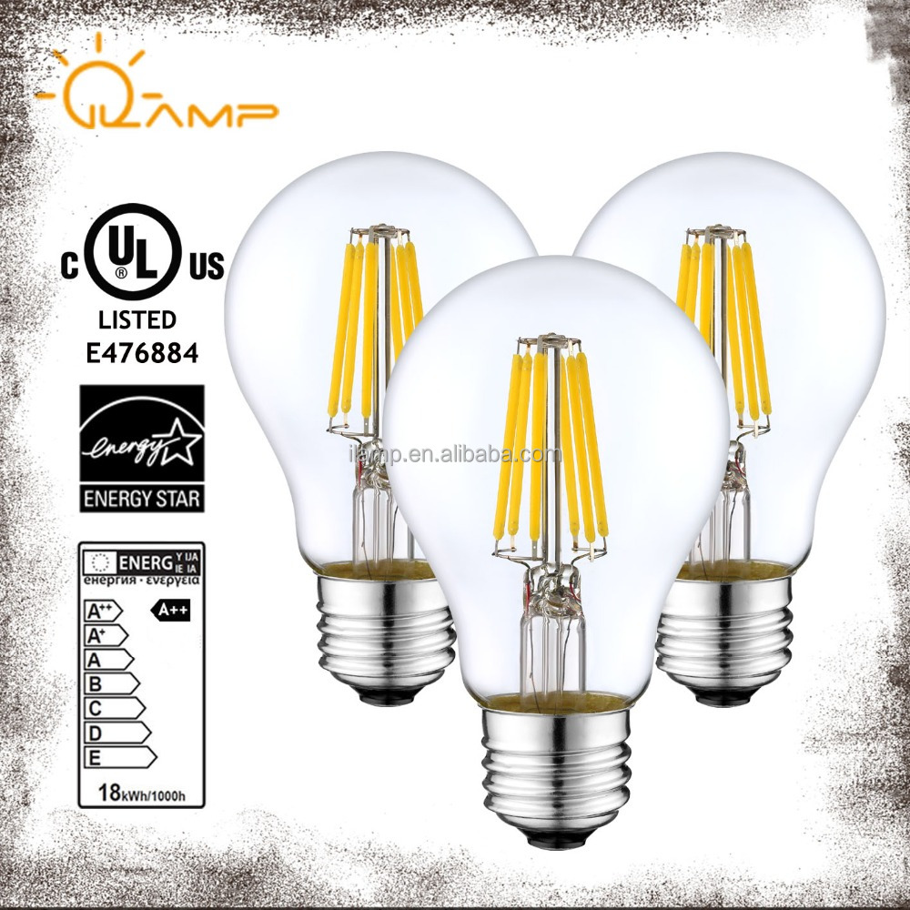 UL CUL Energy star A shape led filament bulb A60 6W edison lamp