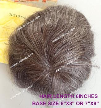 Ht222 Manner Toupet Braun Farbe Mischen 60 Grau Synthetische Haar
