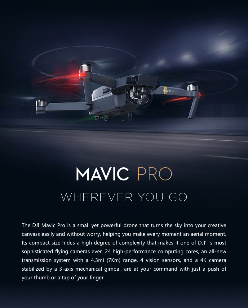 Newest DJI Mavic Pro Fly More Combo Small Professional Pocket Drone with 4k camera obstacle avoidance