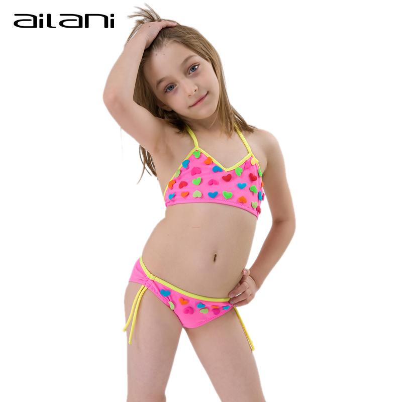 Lovely Summer Bikini Girls Heart Swimwear Solid Newest