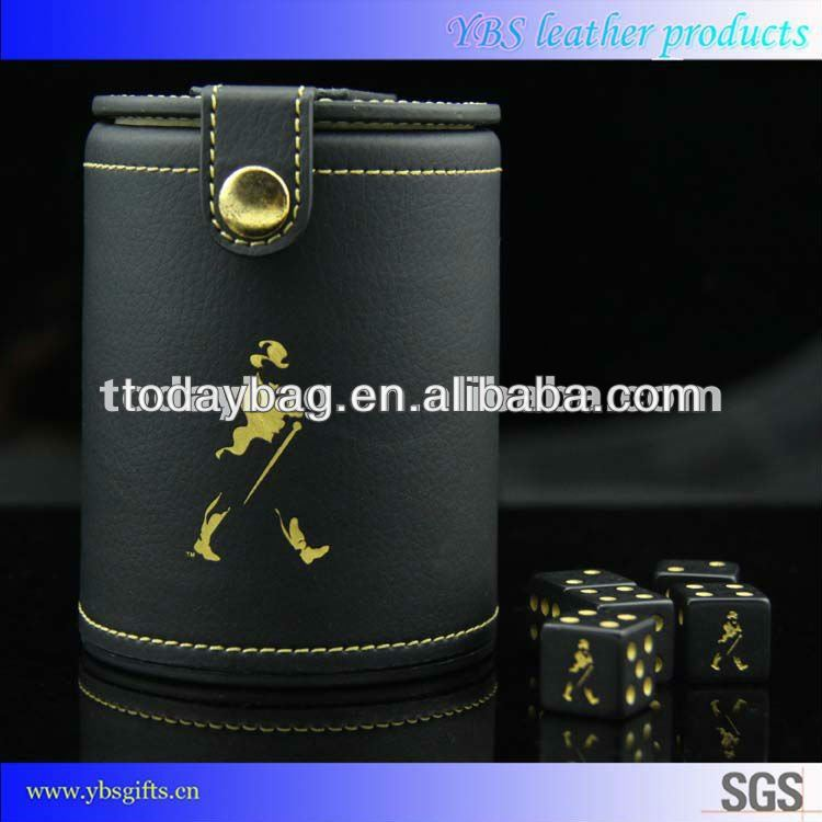 Leather Dice Cups with Golden Johnnie Walker Picture