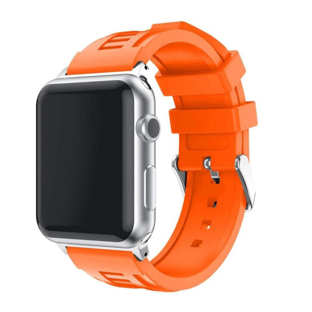 "Sport Band for Apple Watch 38mm 5.7""-8.2"", Gotd Soft Silicone Strap Bracelet Wrist Band Replacement Watch Band For Apple Watch 38mm Series 3, Series 2, Series 1, Large Small, Men Women (Orange)"