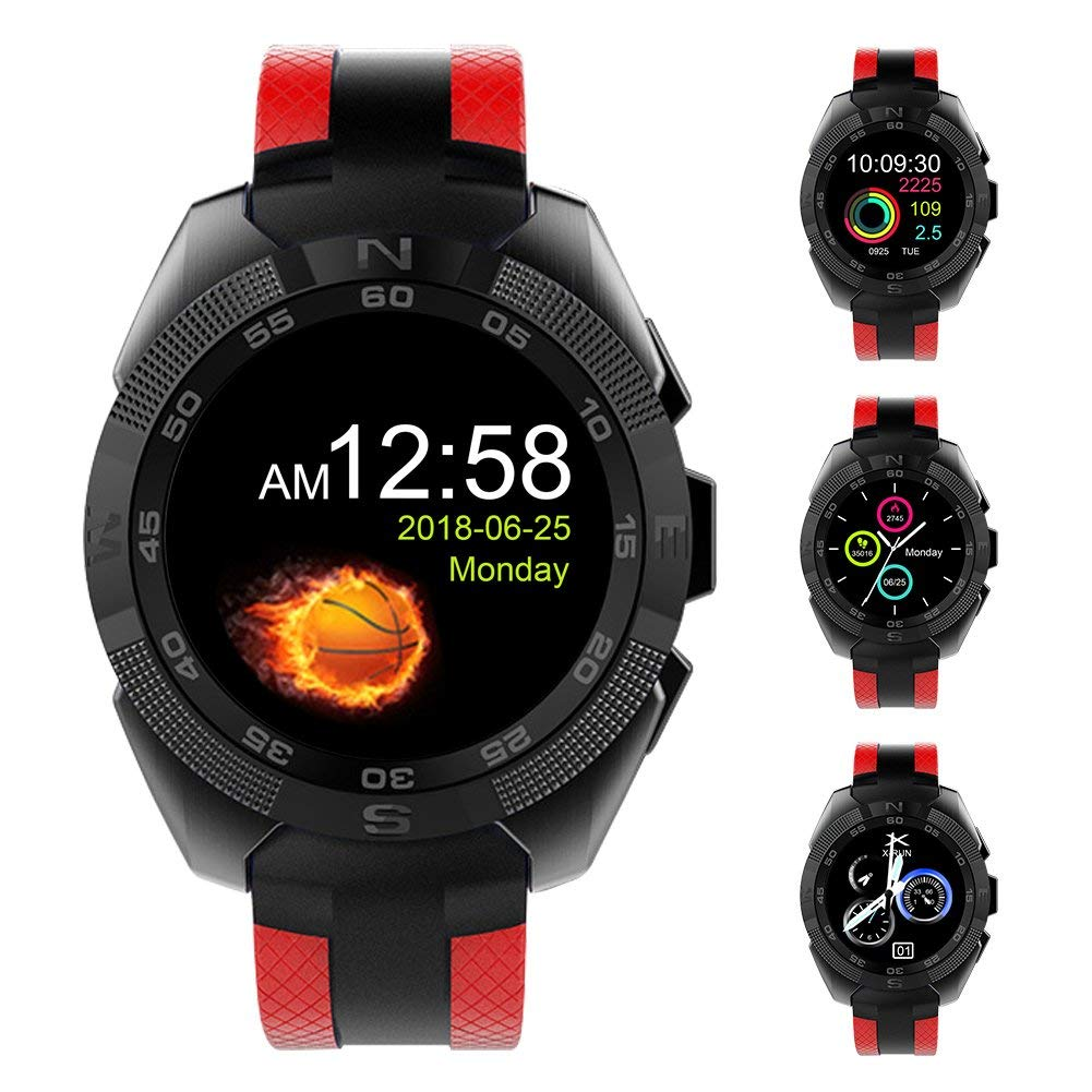 """Padcod Sport Smart Watch, Health Monitor, BT talking, SMS Message Display, Alarm Clock, Remote Phone Camera/Music Control 1.54"""" Color Screen Bluetooth Smart Watch (Red)"""