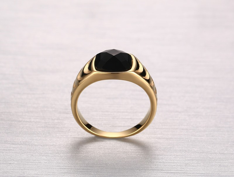 2016 Latest Design Single Black Stone Simple Gold Ring Design Ring ...
