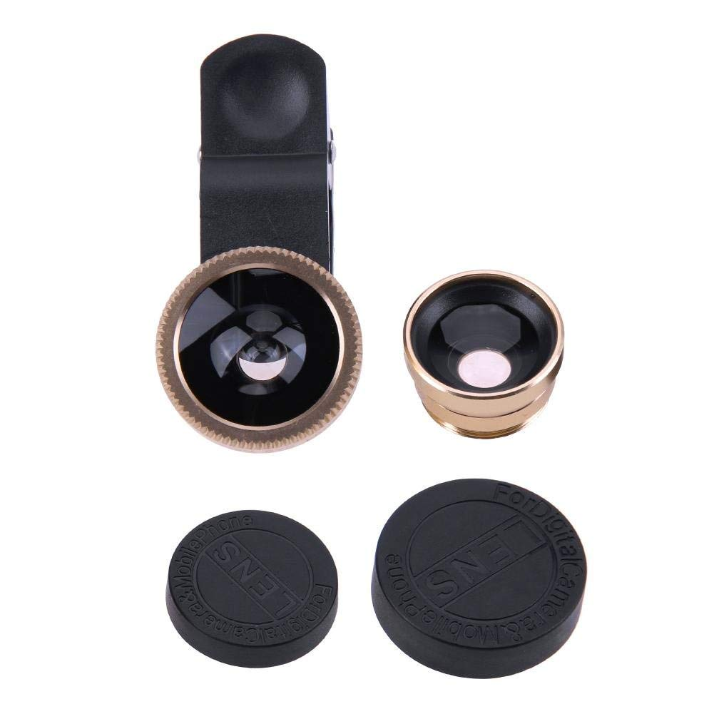 UniHappy 3 in 1 Fish Eye+ Wide Angle+ Macro Camera Lens Kit for Phone (Gold)