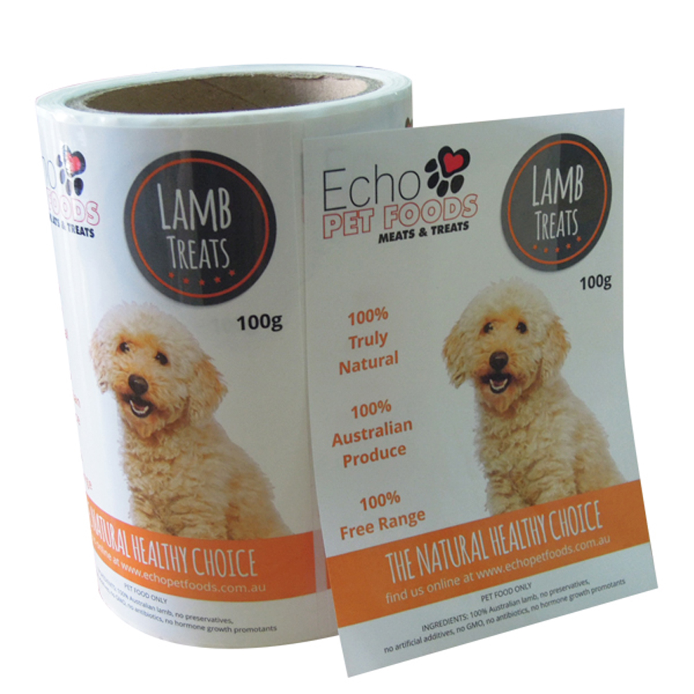 Custom Waterproof Adhesive Printing Pet Food Products Sticker Labels For Pet Food Instruction