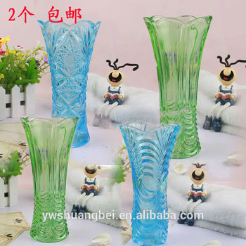 Square Colored Tall Glass Vase Stained Glass Vase Cheap Wholesale