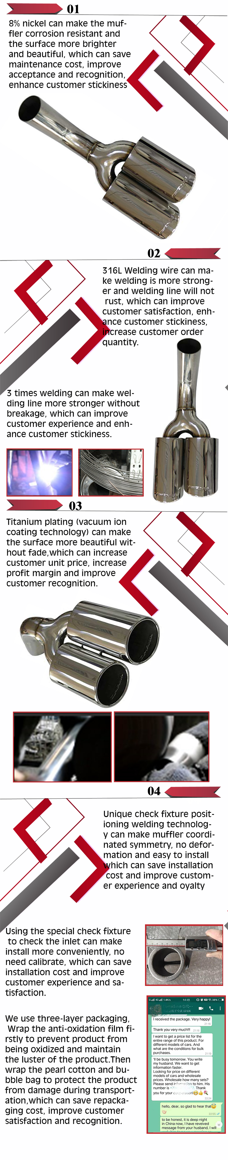 Grwa Modified Car Exhaust Dual Stainless Steel Exhaust Tips For g5