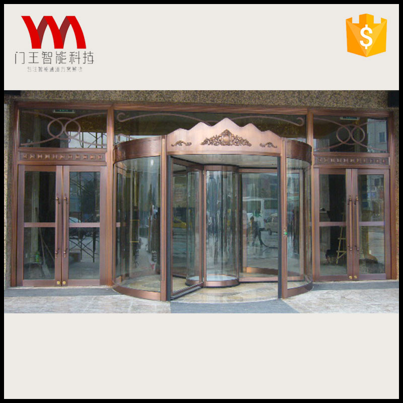 Top quality customized glass 3 wings automatic revolving door for supermarket