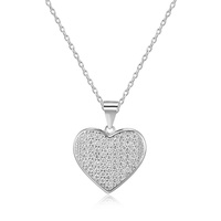 Fashion lucky pendant necklace heart pendant silver with zircons