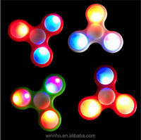 2017 popular kids toys ABS raw material finger edc toy, tri spinner fidget toy, fidget spinners with led light