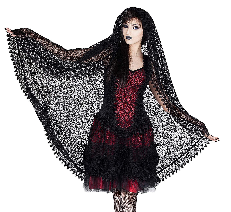 Sinister Gothic Long Black Sicilian Lace Wedding Veil w Scalloped Venetian Lace & Velvet Trim
