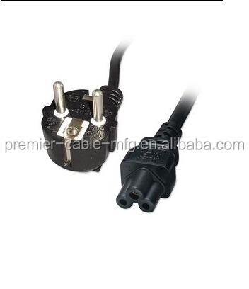 plug CEE 7/16 (with hole for French earthing contact) to IEC 320 C5 (Mickey Mouse coupler)
