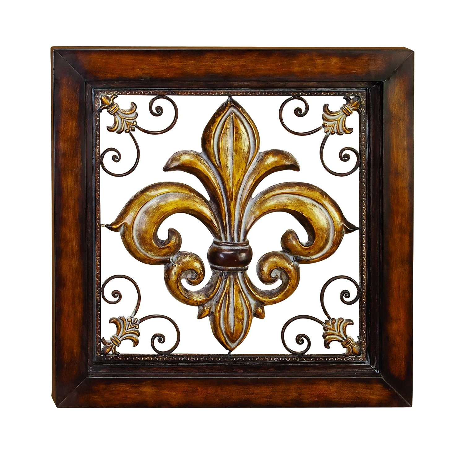 Tuscan Square Wrought Iron Wall Grill with Fleur-De-Lis