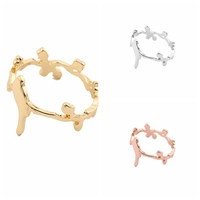 2016 fashion design simple bird branch silver gold puzzle ring girls finger rings 22k gold rings