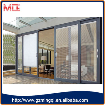Double Glazing Aluminum Terrace Sliding Door With Glass Blinds For Terrace