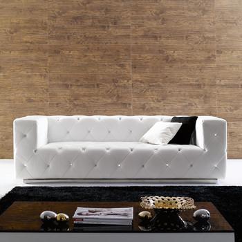 Modern White Button Crystal Tufted Sofa