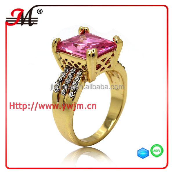 R7565B Fashion gold plated clear crystal Pink zircon ring design engagement ring