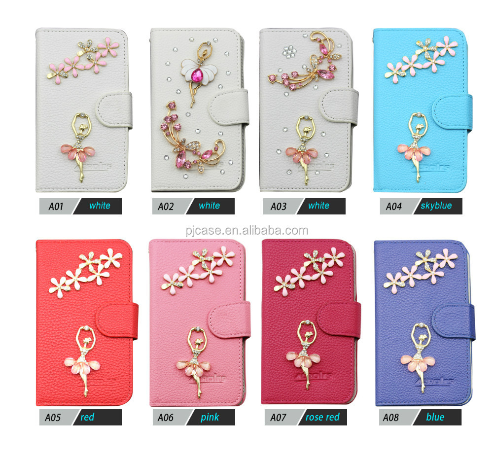 2015 Hot New Products For 3d bling crystal wallet Leather Case For LG Optimus L9 P760 P769