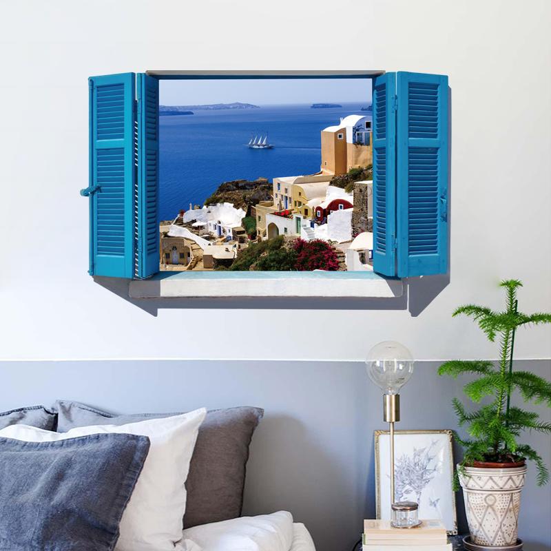 Sk9059a 3d Adesivi Murali Paesaggio Mare Blu Costruzione Decalcomanie - Buy  3d Adesivi Murali Paesaggio,Blue Sea Building Decalcomanie,Pvc Estraibile  ...