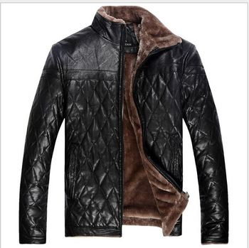 Moon Bunny New Winter Men's Casual Leather Jacket Fur Large Size ...