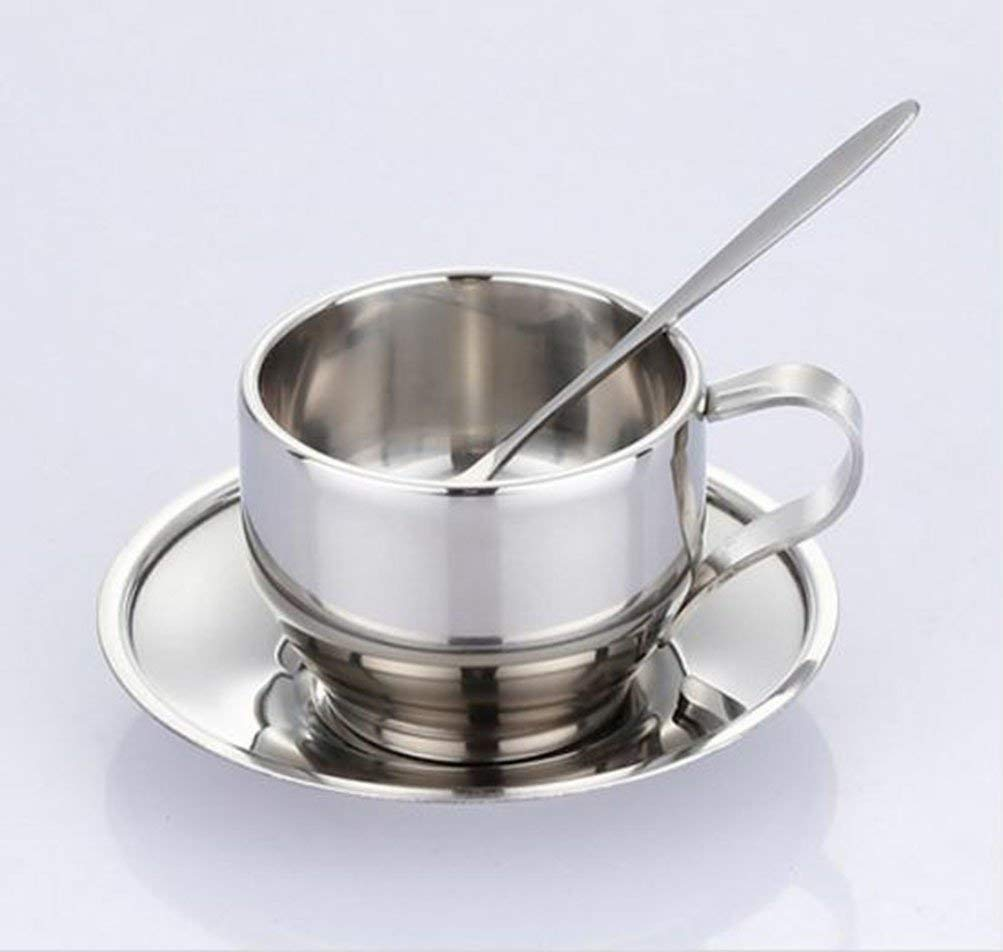 stainless steel coffee cup saucer and spoon set stainless steel double-walled coffee cups